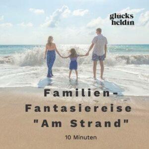 Auf dem Cover sieht man eine Familie, die einen Strandspaziergang macht. In dieser Fantasiereise wirst du dich an einem wunderschönen Strand mit deiner ganzen Familie wiederfinden.